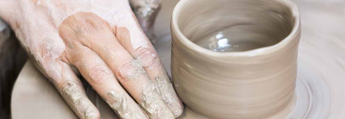 Hand making pottery